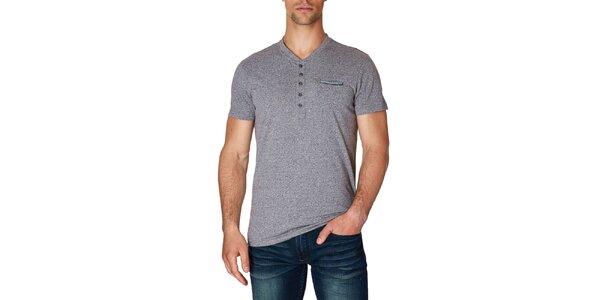 Pánske čierno-biele melírované tričko s krátkym rukávom Paul Stragas