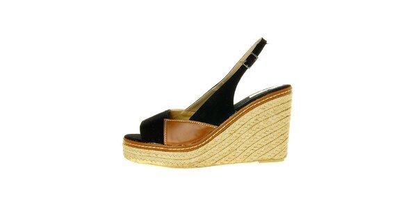 Dámske čierne pásikové topánky Luna Llena s jutovým podpätkom