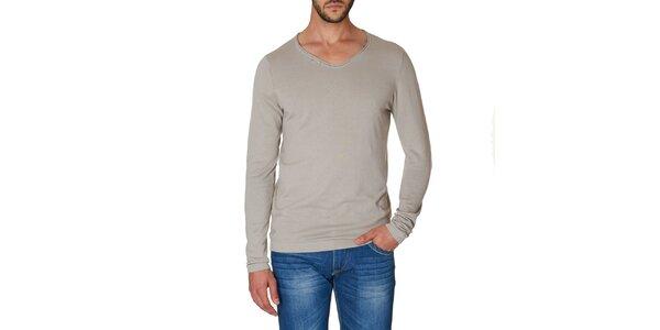 defd2ad2b9d2 Pánske šedé tričko s dlhým rukávom Paul Stragas