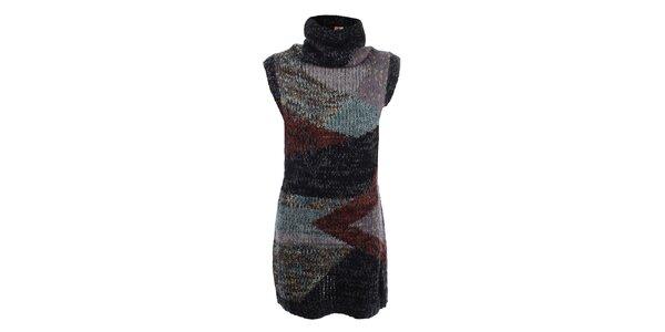 Dámske tmavé pletené šaty s rolákom Dislay DY Design