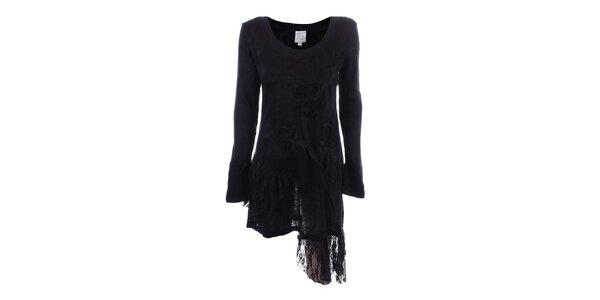 Dámske čierne asymetrické šaty s čipkou Dislay DY Design