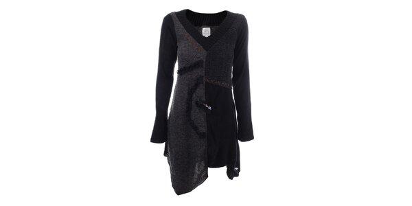 Dámske tmavo šedé zošívané šaty Dislay DY Design