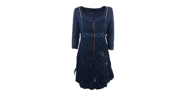 Dámske tmavo modré šaty s krčeným efektom Dislay DY Design
