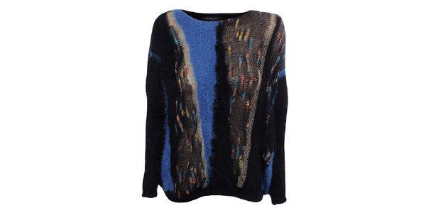 Dámsky čierny sveter s modrými prvkami Dislay DY Design