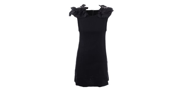 Dámske čierne šaty s ozdobnými ramenami Dislay DY Design