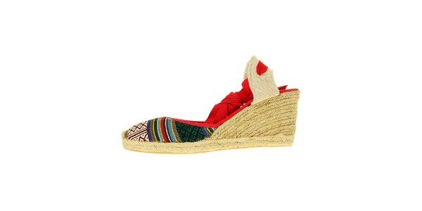 Dámske červené sandálky Luna Llena s jutovým podpätkom