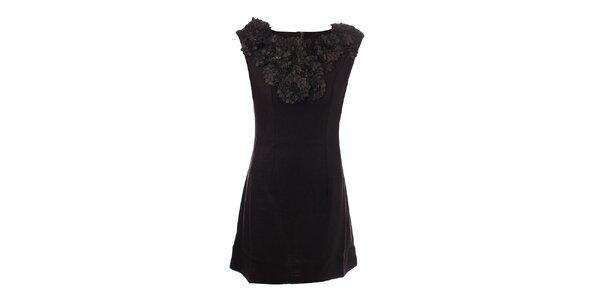 Dámske tmavomodré šaty s kvetinovým výstrihom Dislay DY Design