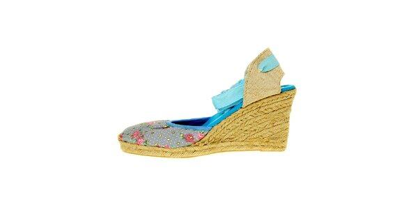 Dámske svetlo modré textilné sandálky Luna Llena s jutovým podpätkom