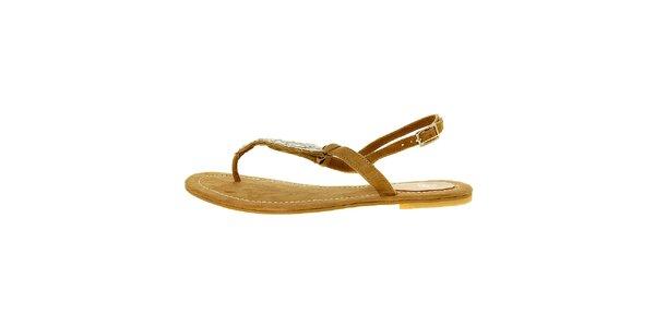 Dámske svetlo hnedé semišové sandálky Luna Llena s kamienkami