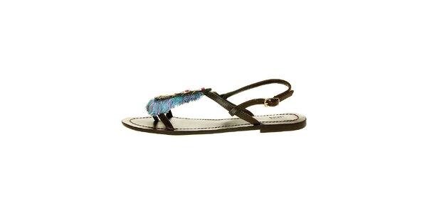 Dámske tmavo hnedé sandálky Luna Llena s farebnými strapcami