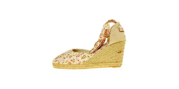 Dámske prírodné sandálky Luna Llena s jutovým podpätkom a kvetinovou potlačou