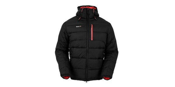 Pánska čierna páperová bunda s červenými prvkami Izas