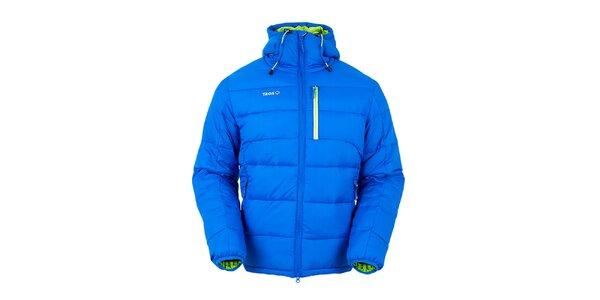 Pánska modrá páperová bunda so zelenými prvkami Izas