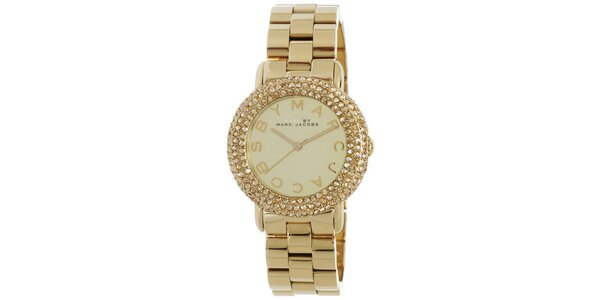 Dámske zlaté hodinky s bielymi kryštáľmi Marc Jacobs