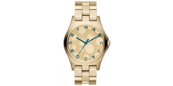 Dámske pozlátené hodinky s tyrkysovými prvkami Marc Jacobs