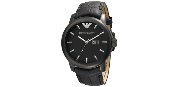 Pánske čierne hodinky s koženým remienkom Emporio Armani