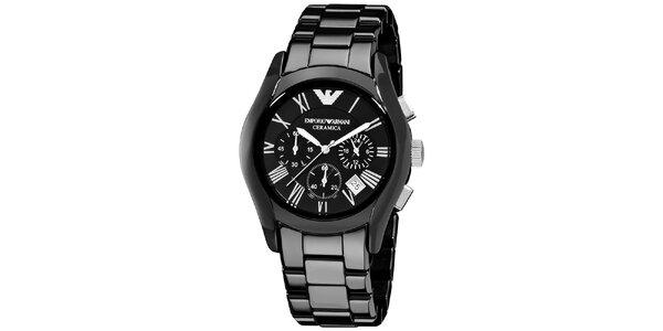 Pánske keramické hodinky v čiernej farbe Emporio Armani
