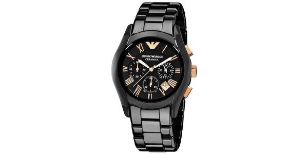 Pánske čierne keramické hodinky Emporio Armani