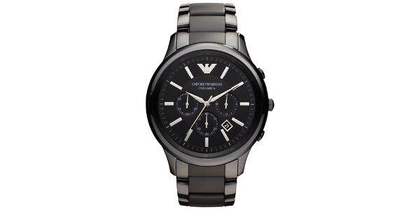 Pánske čierne hodinky s chronografom Emporio Armani
