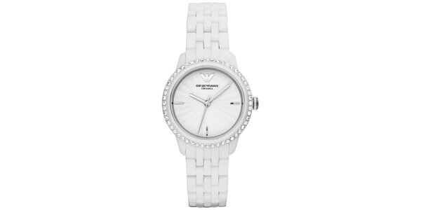 Dámske biele hodinky s keramickým remienkom Emporio Armani
