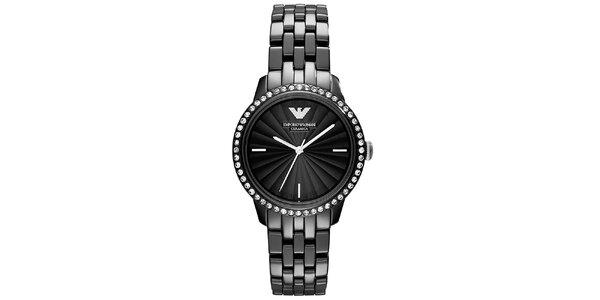 Dámske čierne hodinky s keramickým remienkom Emporio Armani