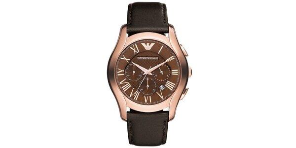 Pánske analógové hodinky s tmavo hnedým remienkom Emporio Armani