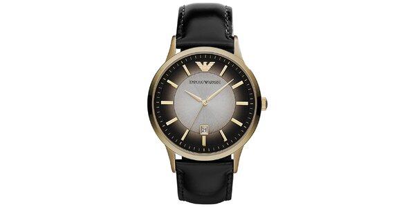 Pánske čierne hodinky s prvkami v zlatom tóne Emporio Armani