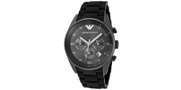 Pánske čierne hodinky z nerezovej ocele Emporio Armani