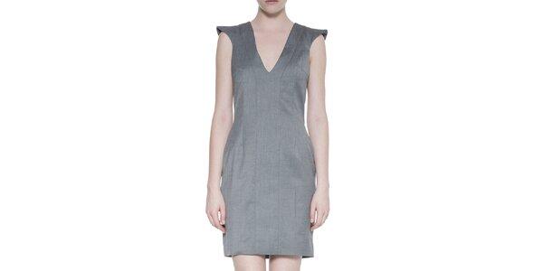 Dámske vlnené šedé šaty s hlbokým výstrihom Gene