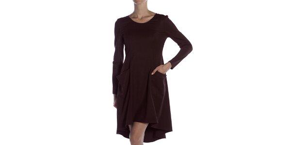 Dámske gaštanovo hnedé široké šaty s vreckami Gene