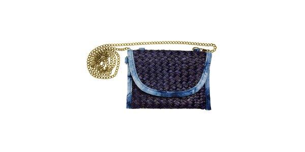 Dámska tmavo modrá slamenná kabelka Luna Llena so zlatou retiazkou