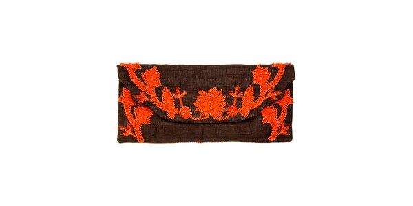 Dámska tmavo hnedá kabelka Luna Llena s oranžovou výšivkou