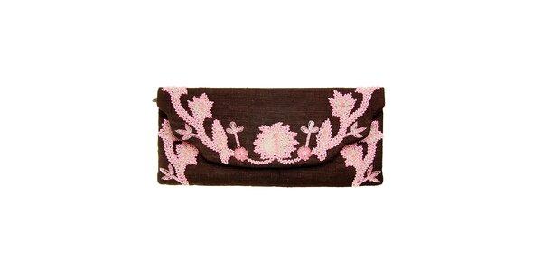 Dámska tmavo hnedá kabelka Luna Llena s ružovou výšivkou