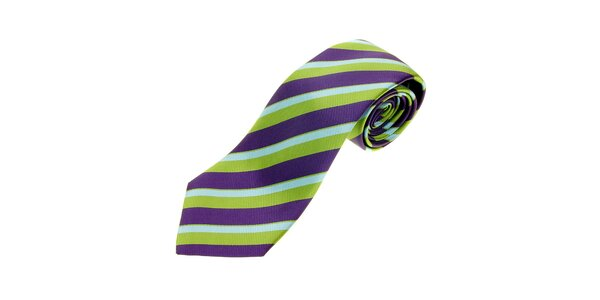 Pánska zeleno-fialová prúžkovaná kravata Les Capains