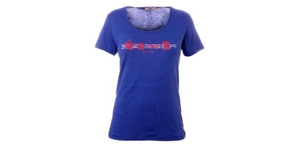 Dámske modro-fialové tričko s plážovou potlačou TBS