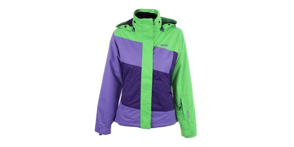 Dámska fialovo-zelená lyžiarska bunda s kapucňou Envy