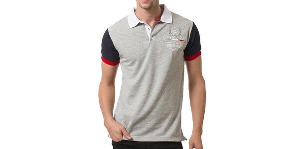 Pánske svetlo šedé polo tričko s bielym golierom Giorgio Valenti