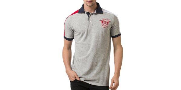 Pánske svetlo šedé polo tričko s tmavo modrým golierom a výšivkou Giorgio…