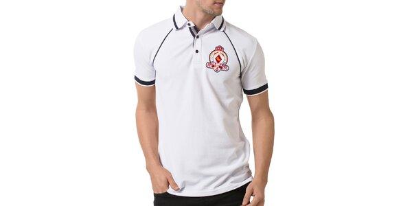 Pánske biele polo tričko s kontrastnými prvkami a výšivkou Giorgio Valenti