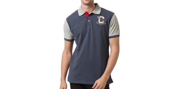 Pánske šedo-modré polo tričko so svetlými rukávmi Giorgio Valenti