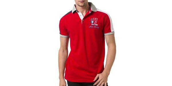 Pánske červené polo tričko so svetlo šedým golierom Giorgio Valenti