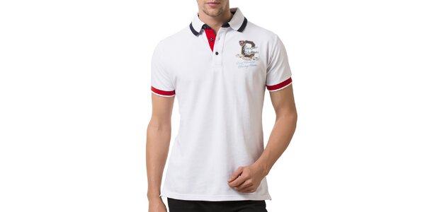 Pánske biele polo tričko s červenými manžetami Giorgio Valenti