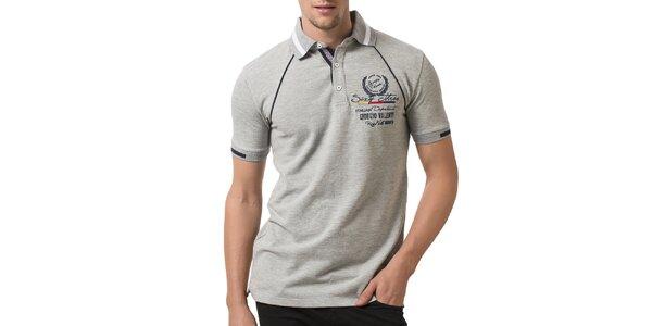 Pánske svetlo šedé polo tričko s výšivkou Giorgio Valenti