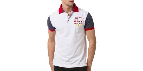 Pánske biele polo tričko s krátkymi šedými rukávmi Giorgio Valenti