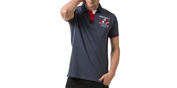 Pánske šedé polo tričko s krátkym rukávom a výšivkou Giorgio Valenti