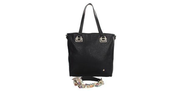 Dámska čierna kabelka so vzorovanou podšívkou United Colors of Benetton