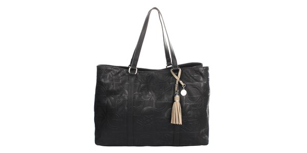Dámska čierna kabelka s reliéfnou potlačou a strapcom United Colors of Benetton