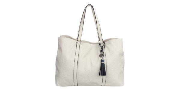 Dámska krémovo biela kabelka s reliéfnou potlačou a strapcom United Colors of…