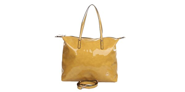 Dámska žltá lakovaná kabelka United Colors of Benetton