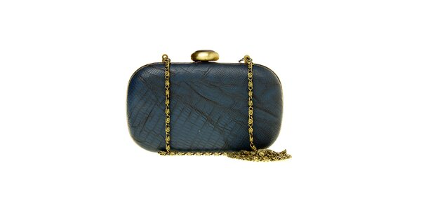 Dámska tmavo modrá kabelka Luna Llena so zlatou retiazkou